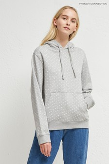 French Connection Grey Dotted Drawstring Hoody Jersey