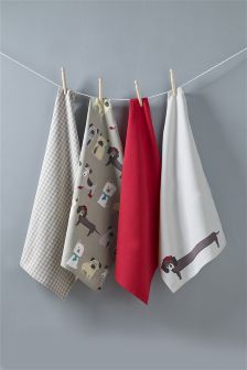 Set of 4 Pugs & Co Tea Towels