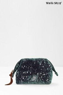 White Stuff Teal Spot Foil Velvet Make-Up Bag