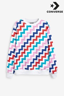 Converse White Voltage Print Crew Sweater