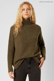 French Connection Green Weekend High Neck Jumper