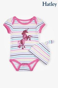 Hatley White Rainbow Unicorn Baby Bodysuit With Hat