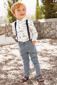 Printed Shirt And Braced Trousers Set (3mths-6yrs)