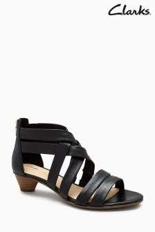 Clarks Black Mina Strappy Low Sandal