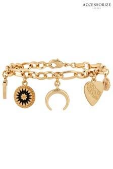 Accessorize Gold Tone Charmy Ivy League Bracelet