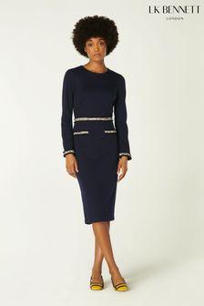 L.K.Bennett Blue Vinnie Mono Fray Trim Fitted Dress