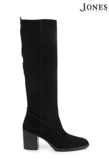 Jones Bootmaker Black Iona Slouch Suede Ladies Knee Boots