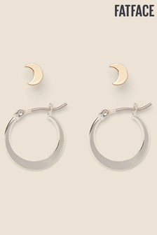FatFace Silver Tone Moon Stud And Hoop Earrings Two Pack