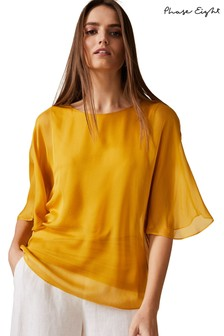 Phase Eight Yellow Ann Silk Blouse