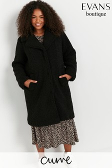 Evans Curve Black Teddy Coat