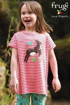 Frugi GOTS Organic Pink Stripe T-Shirt With A Deer Appliqué
