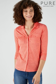 Pure Collection Orange Luxury Linen Jersey Shirt