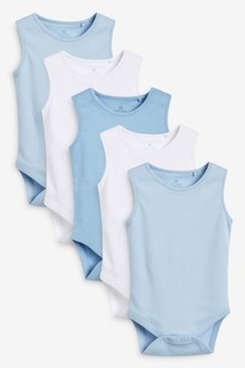 5 Pack GOTS Organic Cotton Vest Bodysuits (0mths-3yrs)
