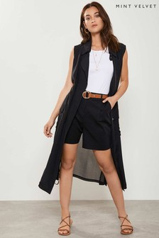 Mint Velvet Black Sleeveless Duster Jacket