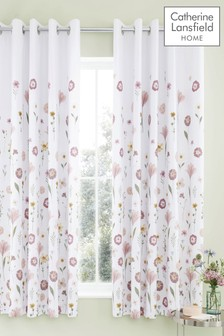 Catherine Lansfield Blush Wild Flowers Eyelet Curtains