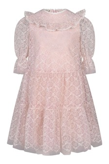 Girls Pink Tulle GG Embroidered Dress