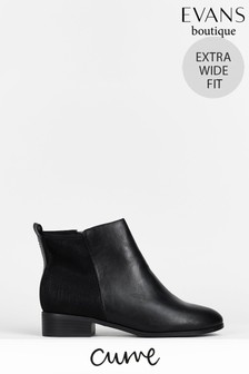 Evans Curve Extra Wide Fit Black Stretch Ankle Boots