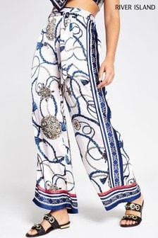 River Island Navy Print Shirred Waist Trouser