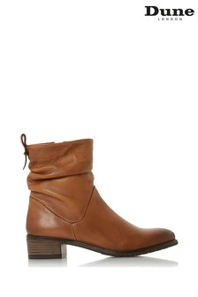 Dune London Pagerss 2 Tan Leather Ruched Ankle Boots