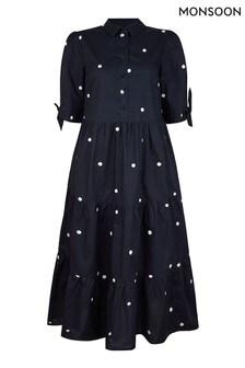 Monsoon Blue Poplin Spot Dress
