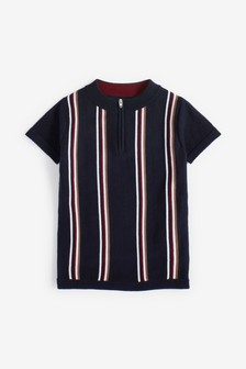 Vertical Stripe Knitted Polo (3-16yrs)