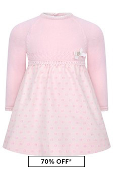 Baby Girls Pink Cotton & Wool Dress