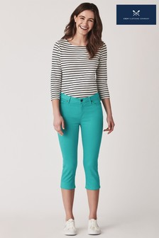 Crew Clothing Company Green Murray Crop Trousers