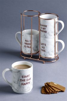 Set of 4 Marble Effect Stacking Mugs