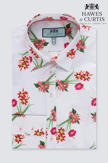 Hawes And Curtis White Floral Fitted Shirt - Single Cuff