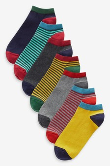 7 Pack Cotton Rich Stripe Trainer Socks (Younger)