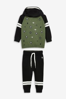 Embroidered Monkey Knitted Hoody And Joggers Set (3mths-7yrs)