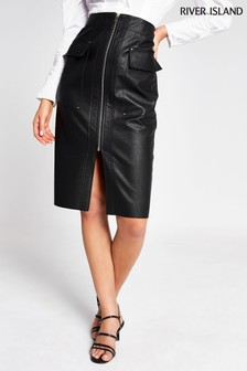 River Island Black PU Zip Through Pencil Skirt
