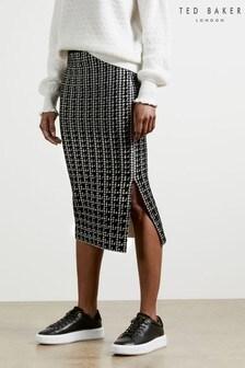 Ted Baker Black Atlassy Atlas Jacquard Skirt