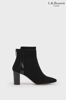 L.K.Bennett Black Abbey Contrast Binding Ankle Boots