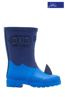 Joules Blue Shark Printed Wellies