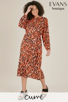 Evans Curve Red Leopard Print Shirt Dress