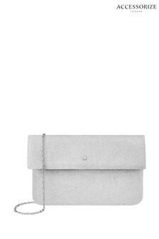 Accessorize Silver Foldover Clutch