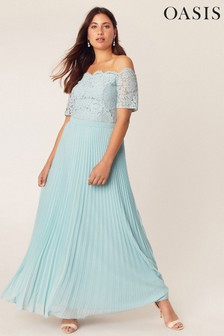 Oasis Pale Green Lace Bardot Maxi Dress
