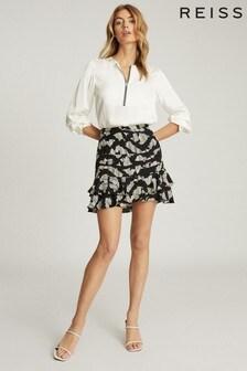 Reiss Black Cadence Printed Mini Skirt