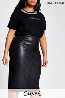 River Island Black Ponte Hybrid Pencil Skirt