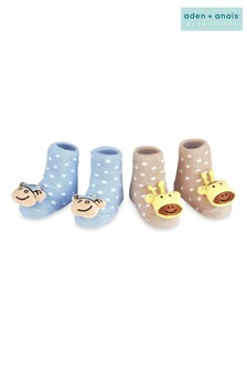 aden + anais Blue Monkey And Giraffe Rattle Socks Two Pack Gift Set