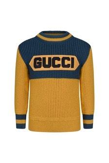 GUCCI Kids Boys Navy Knitted Wool Logo Jumper