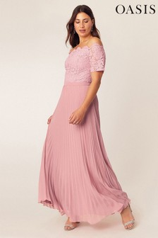 Oasis Pink Lace Bardot Maxi Dress