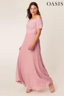 Oasis Pink Lace Bardot Maxi Dress