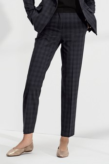 Contrast Textured Check Slim Trousers
