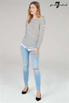 7 For All Mankind® Mid Wash Ripped Knee Skinny Jean
