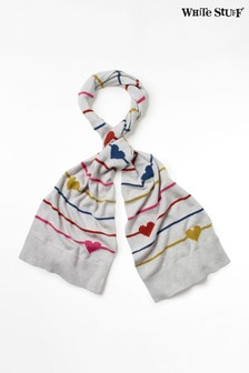 White Stuff Silver Heart & Stripe Scarf