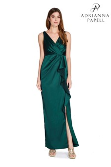 Adrianna Papell Green Draped Gown
