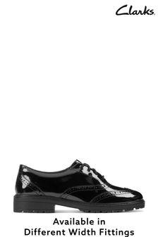Clarks Black Patent Loxham Brogue Youths Shoes