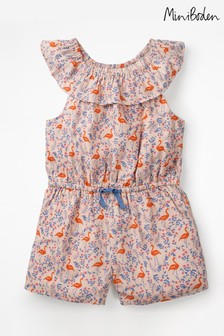 Boden Pink Ruffle Neck Woven Playsuit